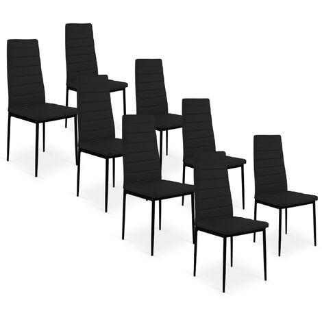 Lot de 8 chaises Strip Noir