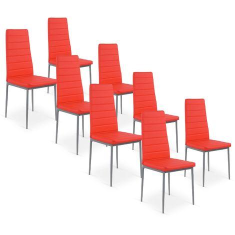 Lot de 8 chaises Strip Rouge