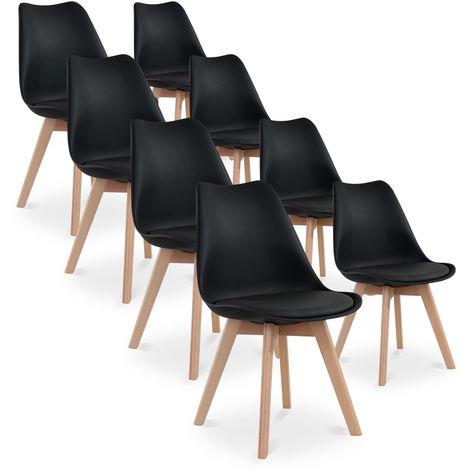 Lot de 8 chaises style scandinave Catherina Noir