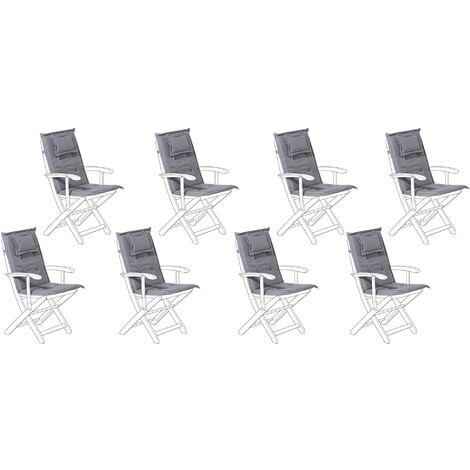 Lot de 8 coussins en tissu gris graphite pour chaises de jardin MAUI