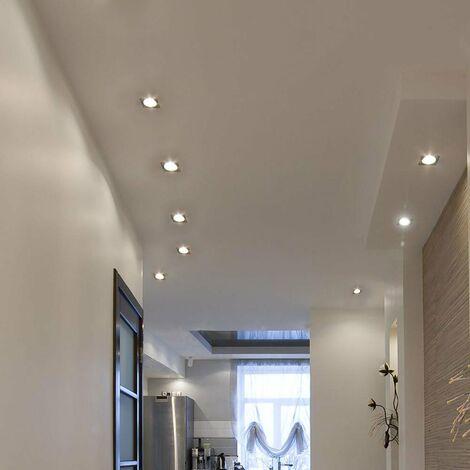 Lot de 8 plafonniers LED encastrables, dimmable, carré, L 8,2 cm