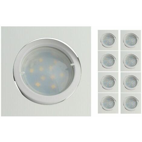 Lot de 8 Spot Led Encastrable Carré Blanc Orientable lumière Blanc Chaud 5W eq. 50W ref.404