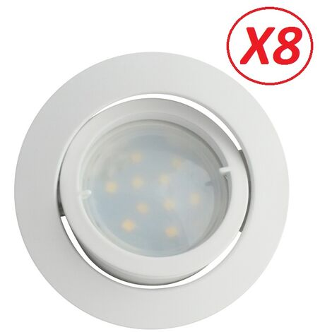 Lot de 8 Spot Led Encastrable Complete Blanc Orientable lumière Blanc Neutre eq. 50W ref.888