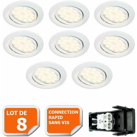 LOT DE 8 SPOT LED ENCASTRABLE COMPLETE ORIENTABLE BLANC AVEC AMPOULE GU10 230V eq. 50W, LUMIERE BLANC NEUTRE