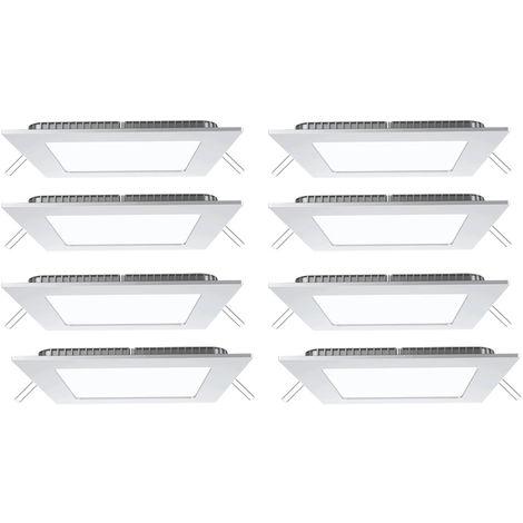 Lot de 8 plafonniers LED luminaires encastrables salon grille éclairage ALU appliques blanc