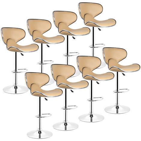 Lot de 8 Tabouret de bar, chaise reglable et pivotant a 360- simili taupe