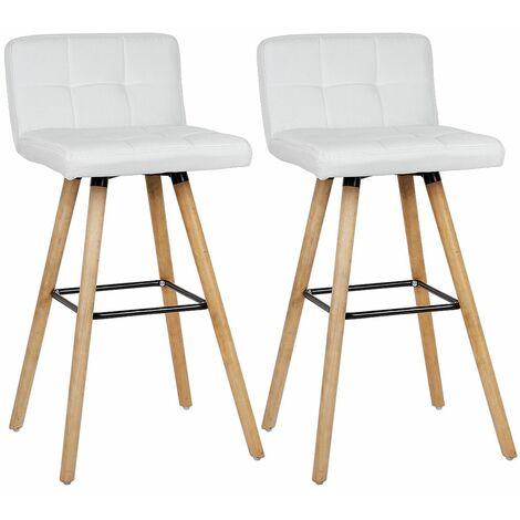Lot de 8 Tabouret de bar haute - Pieds en bois hêtre + Revêtement en tissu blanc - chaise de bar