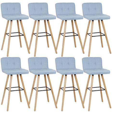 Lot de 8 tabourets de bar en bois hêtre massif - Scandinave - L 42 x P 49 cm - - Revêtement tissu bleu clair
