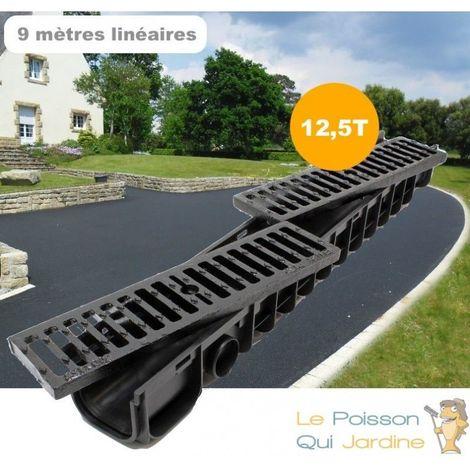 Lot de 9 Caniveaux 1 mètre 12,5 Tonnes pour drainage d'eaux usées.