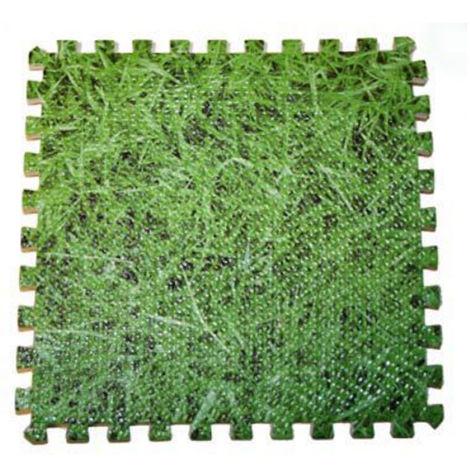 Lot de 9 dalles de protection de sol en mousse 50 x 50 cm imitation herbe épaisseur 8 mm pour piscine - Gré