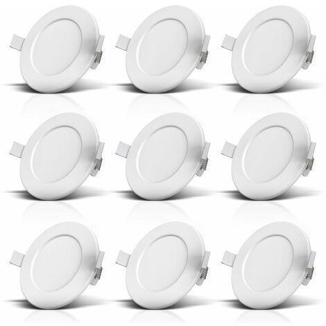 lot de 9 spots encastrables spéciales salle de bain IP44 ultra plat Ø115mm 6W
