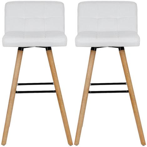 Lot de bar 2 tabourets de bar en bois hêtre massif - Revêtement tissu blanc - Scandinave - L 42 x P 49 cm