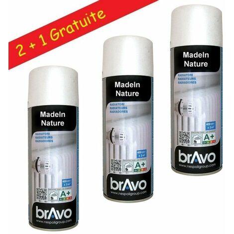 Lot de bombes de peinture, spray Hautes températures ou radiateurs, Intérieur et Extérieur, 400 ml - Radiateur Blanc Satin - Lot de 3. - Radiateur Blanc Satin