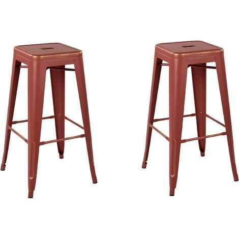 Lot de chaises de bar métalliques rouge doré