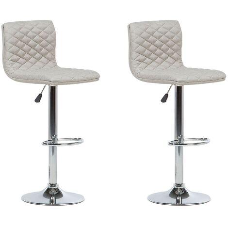 Lot de deux chaises de bar moderne avec assise en tissu beige