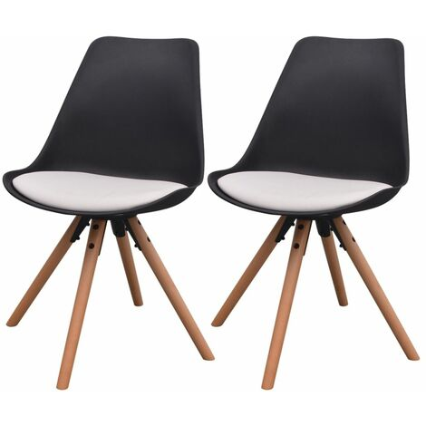 Lot de deux chaises de salle à manger noir et blanc - 1902090