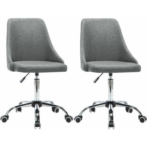 Lot de deux chaises de salle à manger roulante tissu gris clair - Gris