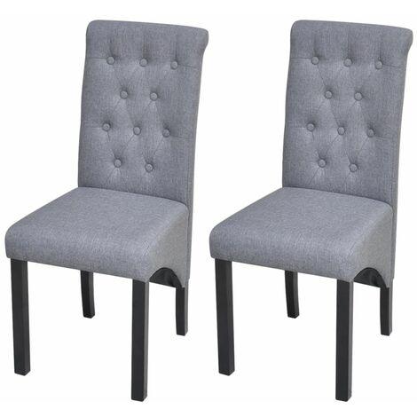 Lot de deux chaises de salle à manger tissu gris foncé - 1902168