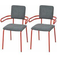 Lot de deux chaises fauteuil de salle à manger rouge et gris