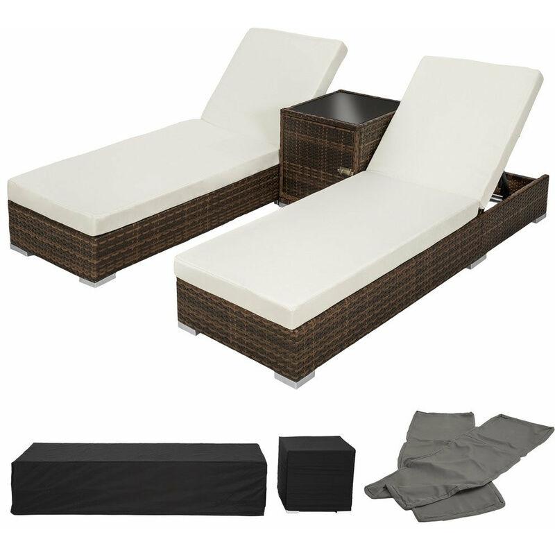 Helloshop26 - Lot de deux chaises longue bain de soleil en résine tressé poly rotin + table + deux set de housses + housse de protection marron