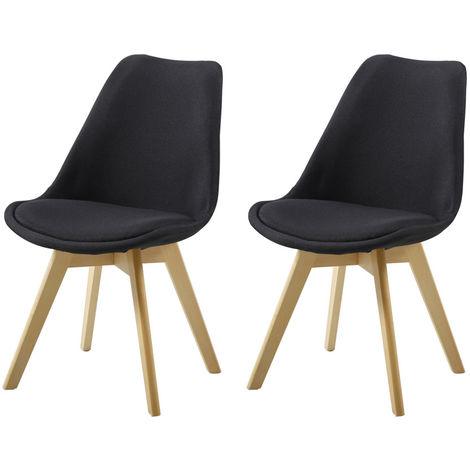 """main image of """"Lot de Deux chaises scandinaves BIMS Noir"""""""