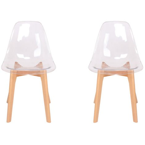 Lot de deux chaises scandinaves FLEXI Transparent