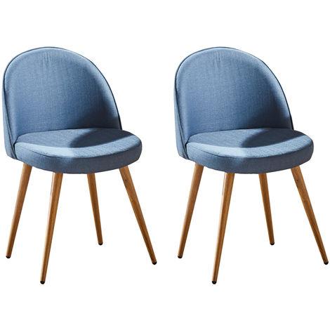 Lot de deux chaises scandinaves GREK Bleu