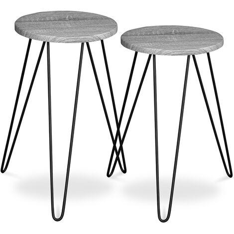 Lot de deux tables auxiliaires de style industriel Hairpin - Bois et métal Gris