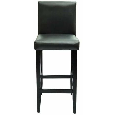 Lot de deux tabourets de bar design chaise siège cuir synthétique noir - Noir