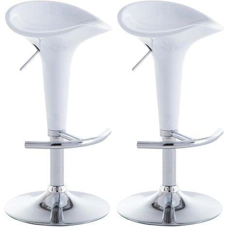 Lot de deux tabourets de bar design chaise siège plastique blanc
