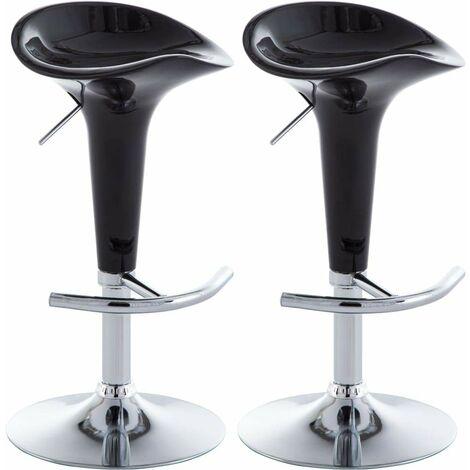 Lot de deux tabourets de bar design chaise siège plastique noir