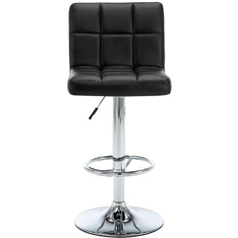 Lot de deux tabourets de bar design chaise siège simili-cuir noir