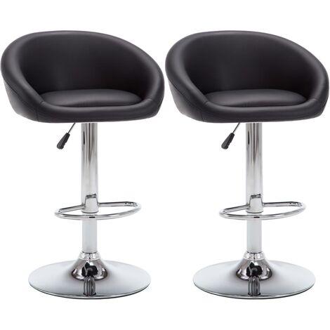 Lot de deux tabourets de bar design chaise siège similicuir noir