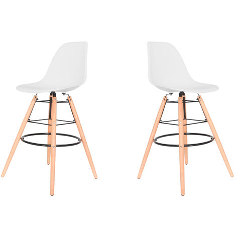 Lot de Deux tabourets scandinaves JUL BLANC