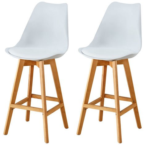 Lot de Deux tabourets scandinaves LAURY BLANC
