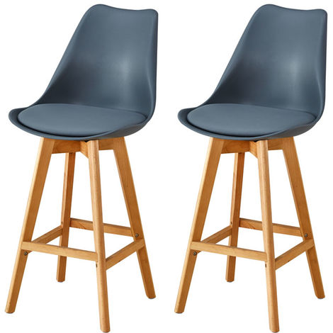 Lot de Deux tabourets scandinaves LAURY Gris
