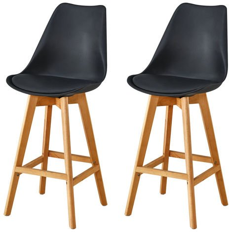 Lot de Deux tabourets scandinaves LAURY Noir
