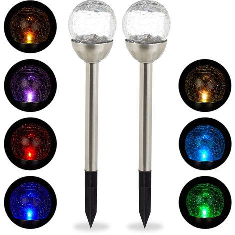 Lot de lampes solaires LED, Piquet, Décoration de jardin, Eclairage, Lot de 2, Changement de couleur, argenté
