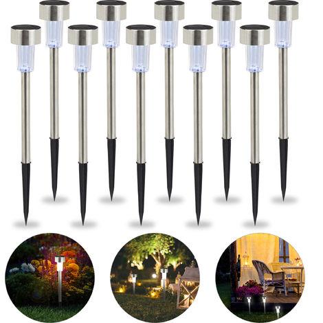 Lot de lampes solaires LED, sur piquet, Décoration de jardin, Eclairage, Lot de 10, Lumière blanche, argenté