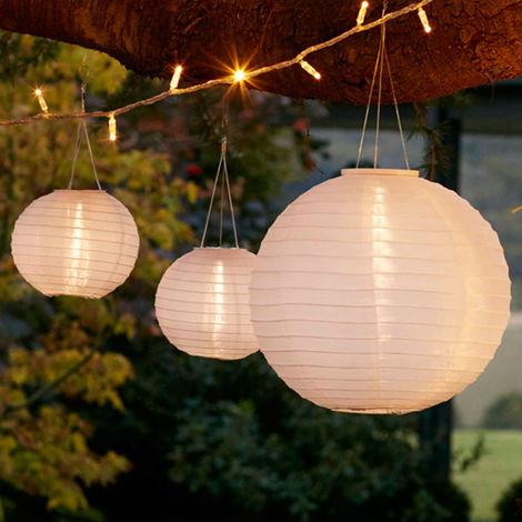 Lot de Lampions Chinois Solaires Blancs à LED Blanc Chaud