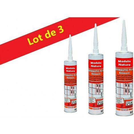 Lot de Mastic colle polyuréthane Blanc grande élasticité, collage matériaux bâtiment, Intérieur & Extérieur Made in France - Lot de 9.