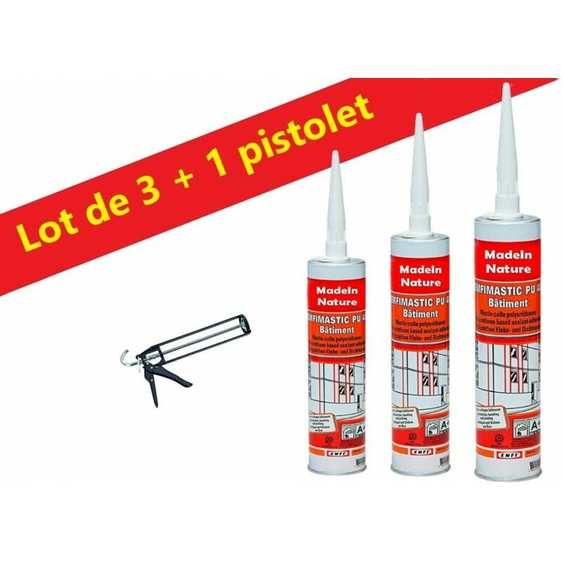 Lot de Mastic colle polyuréthane Blanc grande élasticité, collage matériaux bâtiment, Intérieur & Extérieur Made in France - Lot de 3 + pistolet.