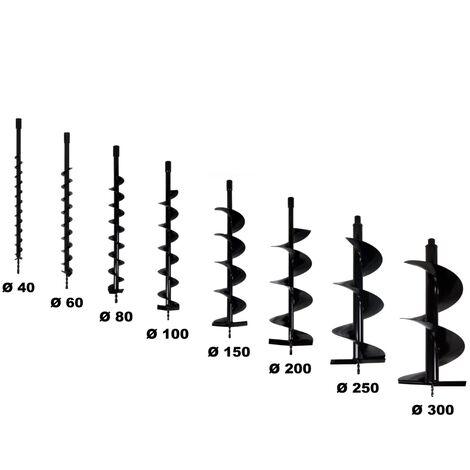 Lot de mèches Ø 40 + 60 + 80 + 100 + 150 + 200 + 250 + 300 mm pour tarière thermique