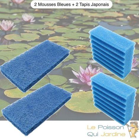 Lot De Mousses De Remplacement, 2 Mousse Bleues + 2 Tapis Japonais