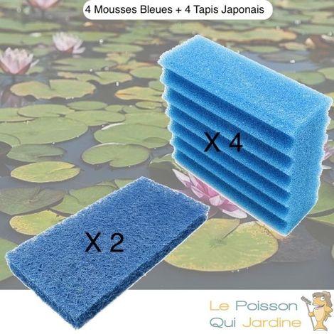 Lot De Mousses De Remplacement, 4 Mousse Bleues + 2 Tapis Japonais