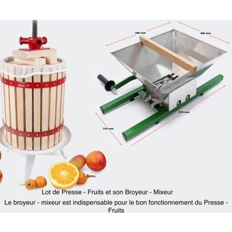 Lot De Presse - Fruits Manuel En Bois De 12 Litres + Broyeur Mixeur