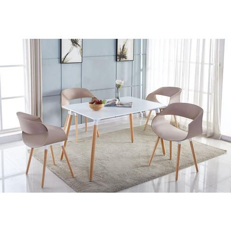Lot de Quatre Chaises Scandinave TWILY Taupe