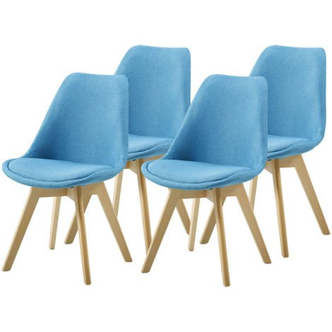 Lot de Quatre chaises scandinaves BIMS Bleu