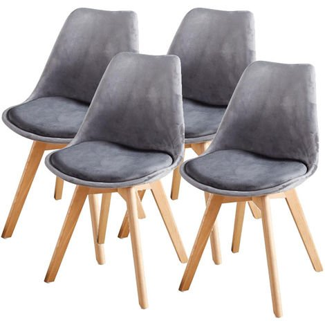 Lot de Quatre chaises scandinaves FREAM GRIS