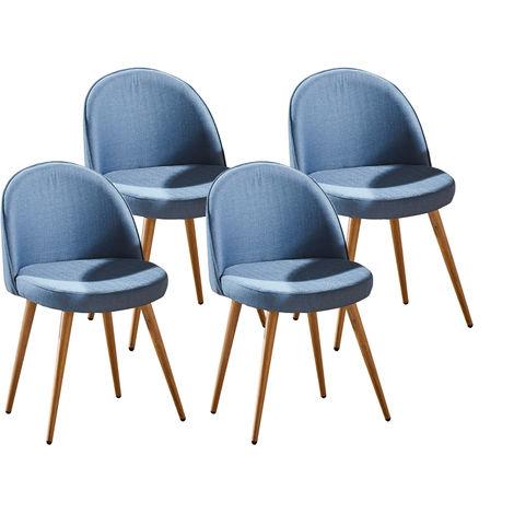 Lot de quatre chaises scandinaves GREK Bleu